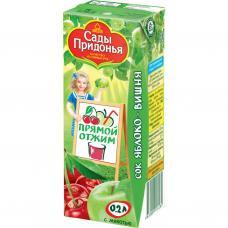 """""""Сады Придонья"""" сок яблочно-вишневый осветленный восстановленный 0,2 л"""